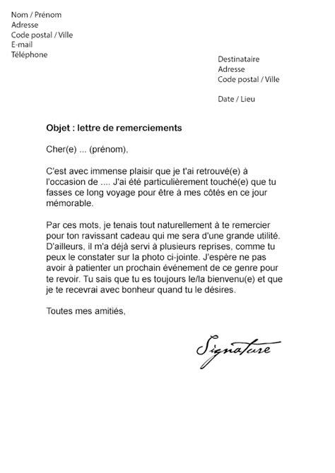 lettre de remerciement pour un cadeau mod 232 le de lettre