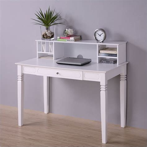 Elegant Solid Wood Desk With Hutch In White Dw48s30 Dhwh White Wood Desks