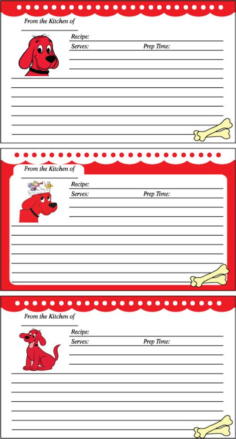 printable dog recipe cards clifford recipe cards 451185 jpg