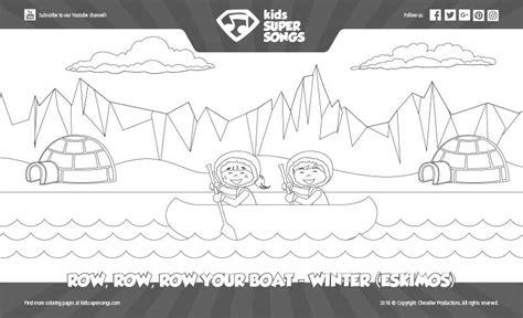 coloring page row row row your boat eskimos winter