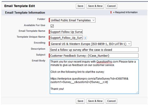 Testing A Communication Template From Salesforce Com Surveyanalytics Help Document Communication Email Templates