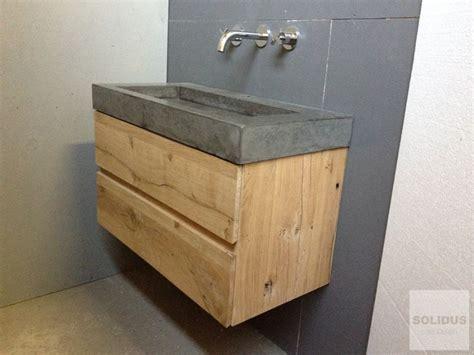 wastafelmeubel voor wc betonnen wastafel met oud eiken ladekast www