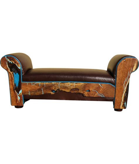 turquoise leather bench turquoise eloquence bench rustic artistry