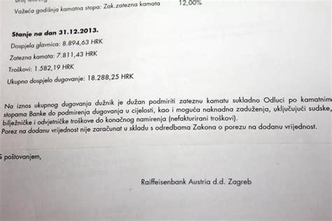 raiffeisen bank kod radi nepodmirenog duga od 10 tisuća kuna banka prodaje dio