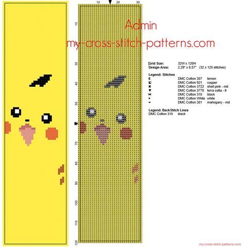 pattern viewer download cross stitch bookmark with pokemon pikachu free pattern