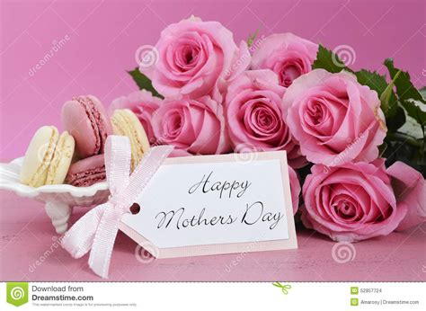 Happy Day Pink happy mothers day pink roses and macarons stock photo image 52857724