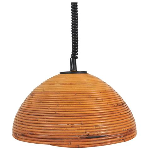Rattan Pendant Lights Large 1960s Rise And Fall Rattan Pendant Light For Sale At 1stdibs