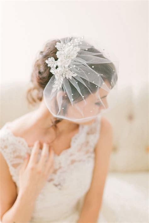 Wedding Hair With Birdcage Veil by Lace Birdcage Veil 718 Chic Vintage Brides