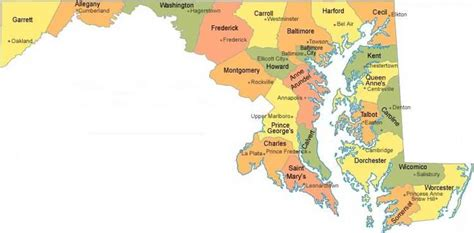 maryland map with cities county map md map travel holidaymapq
