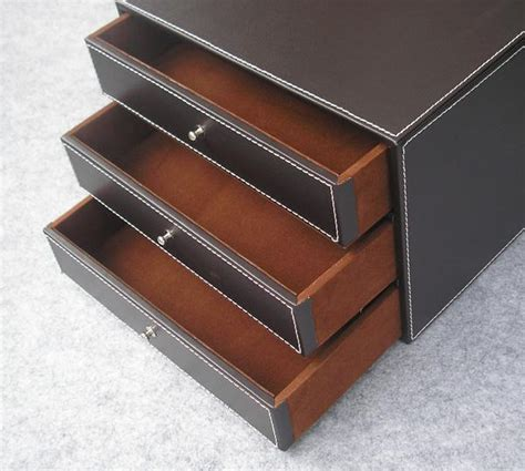 3 layer 3 drawer wood leather desk set filing cabinet