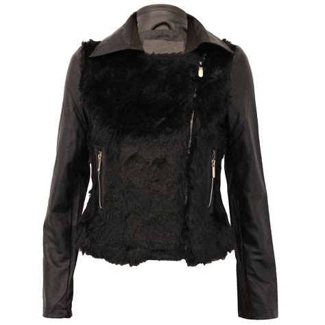 winter biker jacket ladies biker jacket brave soul coat pu pvc fur leather