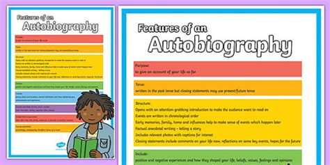 biography and autobiography primary resources features of an autobiography poster autobiography poster