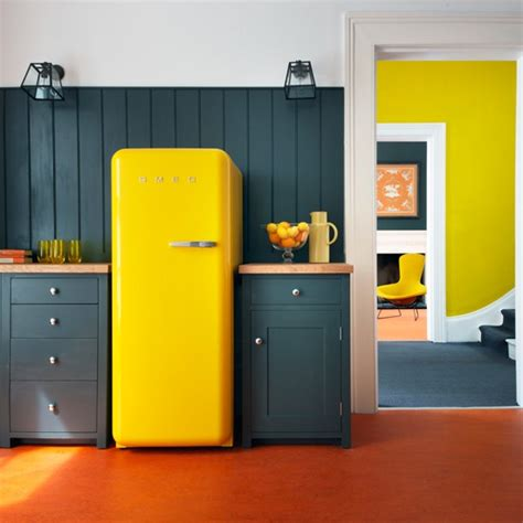 Yellow And Grey Kitchen by Yellow And Grey Kitchen With Fridge Freezer Housetohome