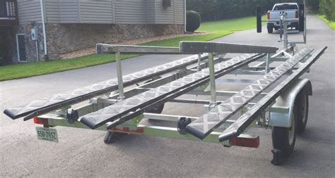 homemade pontoon boat trailer guides homemade ftempo - Tritoon Boat Trailer Loading Guides