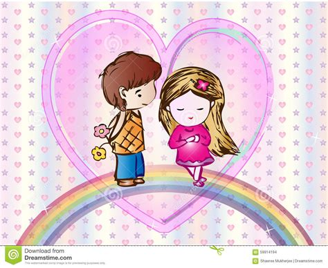 wallpaper cartoon boy cute love cartoon wallpaper stock vector image 59914194
