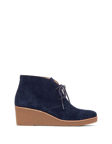 Wedge Heel Lace Up Boots Blue lucky brand lace up suede platform wedge shoes in blue lyst