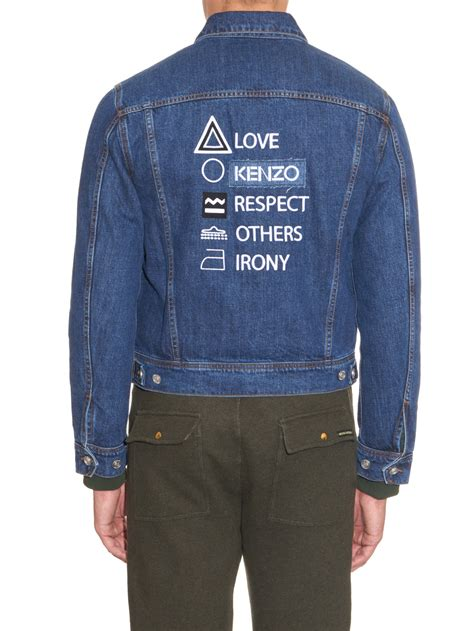 Denim Buttoned Embroidered Jacket lyst kenzo embroidered back denim jacket in blue for