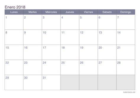 Calendario Para Imprimir Calendario Enero 2018 Para Imprimir Icalendario Net