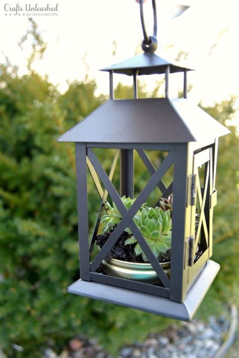 Lantern Planter by Diy Succulent Planter Repurposed Lantern Crafts Unleashed