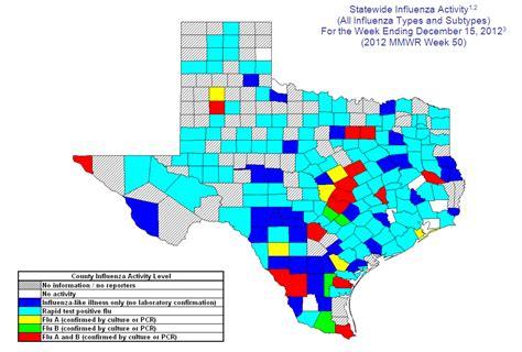 flu map texas 2012 2013 dshs flu report week 50