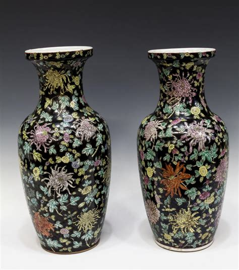 Chrysanthemum Vase by Pair Famille Noir Chrysanthemum Vase The Nassour Estate More Day One