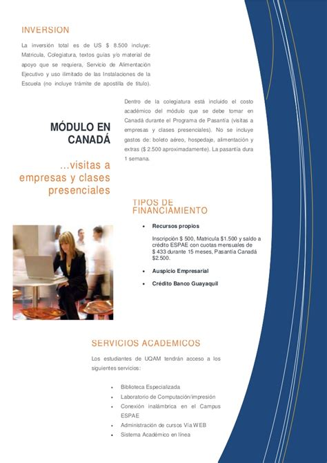 Costo Mba En Canada by Post Mba Uqam Espae