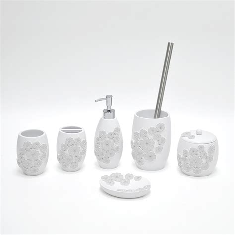 Decorative White Flower Bathroom Accessory Set Buy Fancy Bathroom Accessories