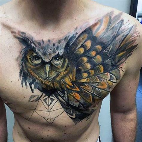 owl tattoo on side 70 owl chest tattoo designs for men nocturnal ink ideas