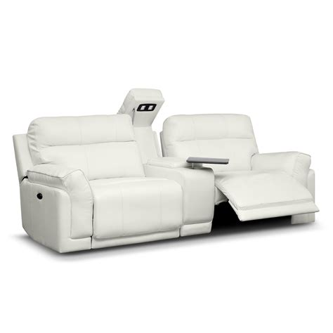 Reclining Sofa With Console Antonio White Leather Power Reclining Sofa With Console Furniture