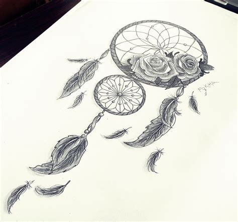 unique dreamcatcher tattoos dreamcatcher roses feathers by pokiha drawings