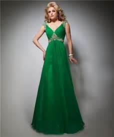 a line v neck cap sleeve empire long emerald green chiffon