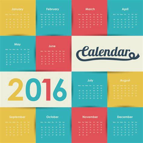design wall calendar 2016 simple wall calendar 2016 design vectors set 07 vector