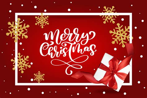 merry christmas lettering red background vector illustration   mesh gift box  golden