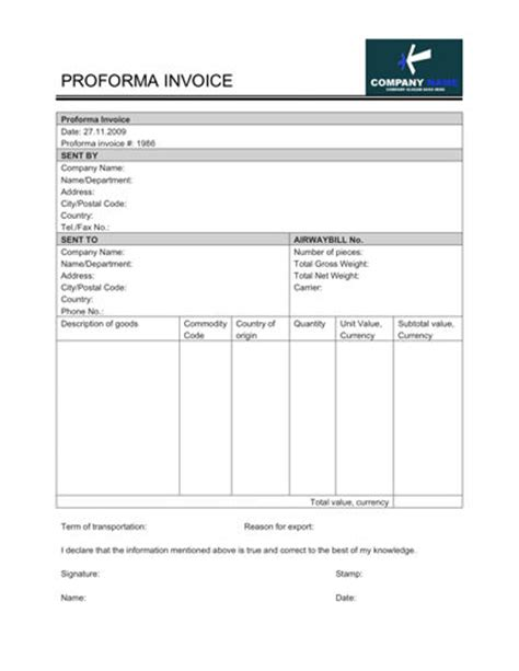 free proforma invoice template for excel