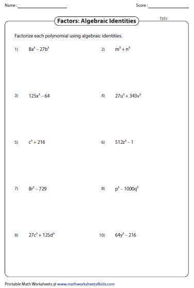 Factor Completely Worksheet Answers by Factoring Polynomials Worksheet Lesupercoin Printables