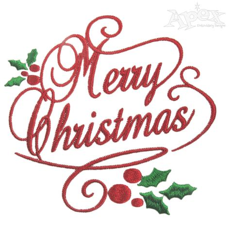 christmas design merry christmas holly embroidery designs