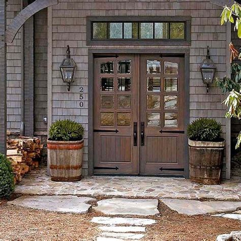 Farmhouse Front Doors Exterior Colors Front Stoop And Barn Front Door