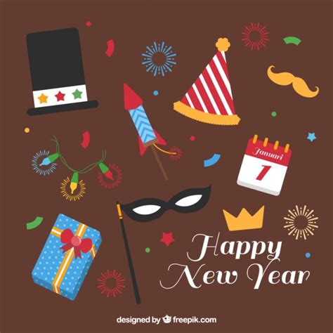 new year element vector free happy new year with fantastic flat elements vector free