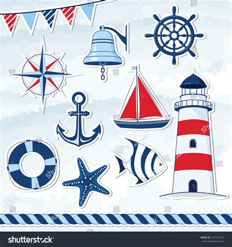 nautical design nautical design elements anchor starfish wheel stock