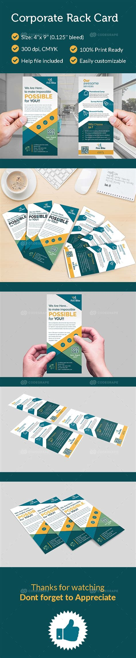 4 x 9 rack card with bleed psd template corporate rack card print codegrape