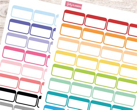 printable planner boxes 64 label half box printable planner stickers bullet