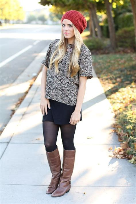 brown boots with black tights my style