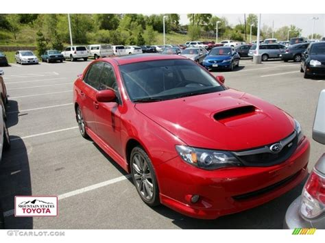 red subaru sedan 2010 lightning red subaru impreza wrx sedan 49514431