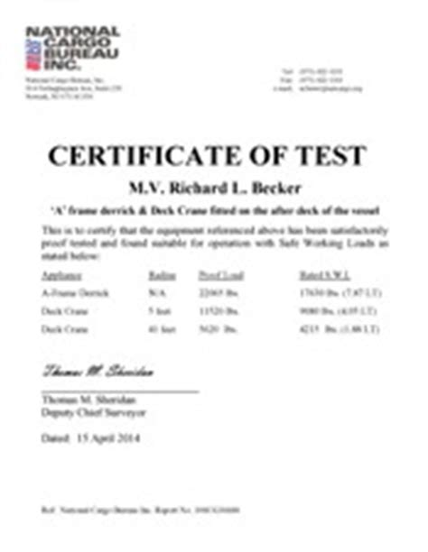 test certificate template national cargo bureau