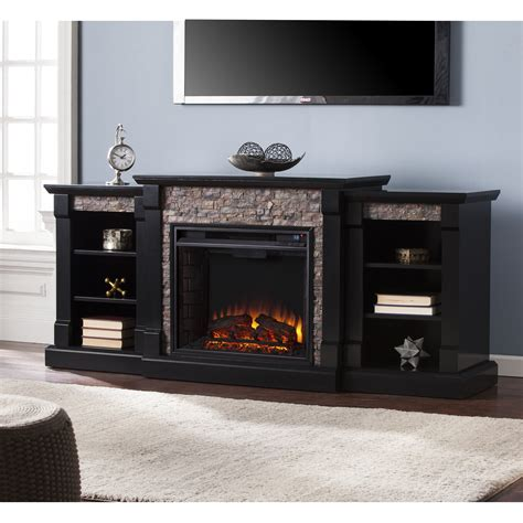 gallatin faux electric fireplace w bookcases