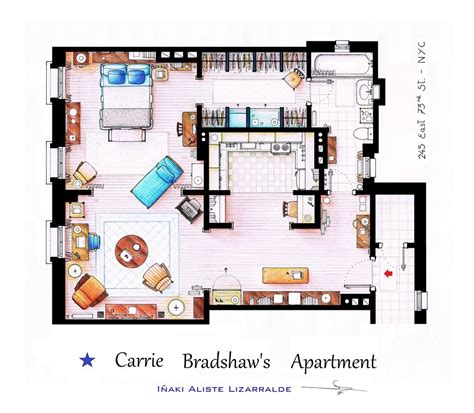 carrie bradshaw apartment floor plan from friends to frasier 13 famous tv shows rendered in