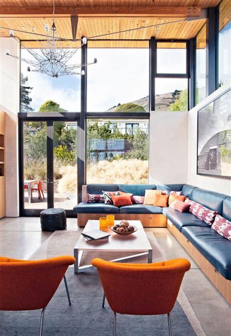 decorate  living room  large windows