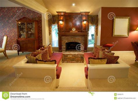 warm sunken living room stock image image  room lamps
