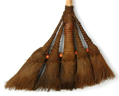 wood straw broom woven primitive style