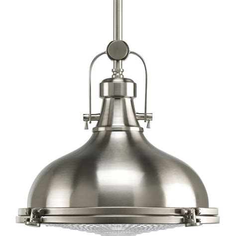 Kitchen Light Pendants Shop Progress Lighting Fresnel 12 12 In Brushed Nickel Single Dome Pendant At Lowes